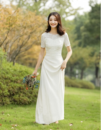 Attractive Crew Neck Lace Bodice Wedding Dresses with Sexy Open Back