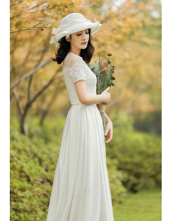 Romantic Two-piece Reception Wedding Dresses with Short Sleeves