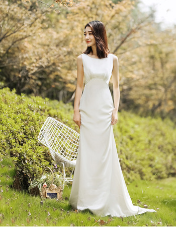 Simple Sheath Sleeveless Satin Wedding Dress with Plunging Scoop Back