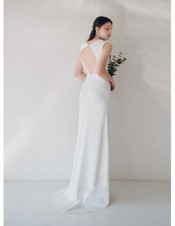 Simple Sleeveless Sheath Satin Wedding Dresses with Dramatic Open Back