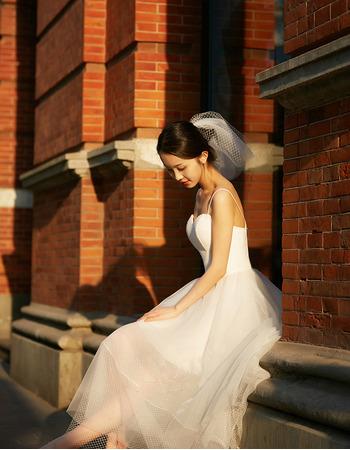 Discount Simple Spaghetti Straps Tea Length Tulle Wedding Dresses