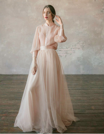 Elegance Mandarin Collar Tulle Wedding Dresses with Long Puff Sleeves