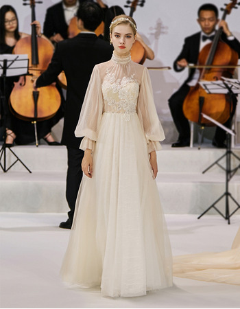 Dramatic Ruffled High Neckline Tulle Wedding Dress with Bishop Sleeves and Illusion Back