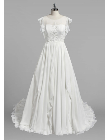 Discount A-Line Flutter Sleeves Ivory Chiffon Wedding Dresses