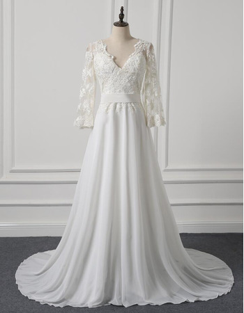 Discount Illusion Back Chiffon Skirt Wedding Dresses with Long Lace Sleeves