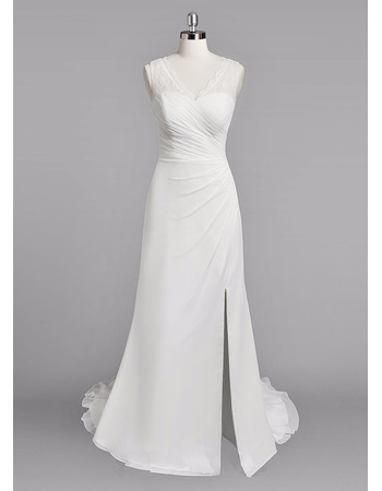 Perfect Sheath V-Neck Chiffon Wedding Dresses with Side Split and Bias Ruffle Detail