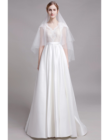 Dramatic Cap Sleeves Long Length Satin Wedding Dresses with Lace Bodice