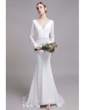 Plunging V-back Mermaid Ruched Detail Chiffon Wedding Dress with Long Sleeves