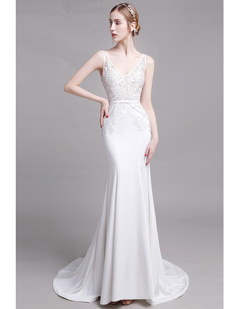 Dreamy and Alluring Mermaid Long Length Lace Satin Bridal Dresses with Plunging V-back
