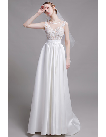 Glamorous Open Illusion Back Long Length Satin Bridal Dresses with Appliques Tulle Bodice