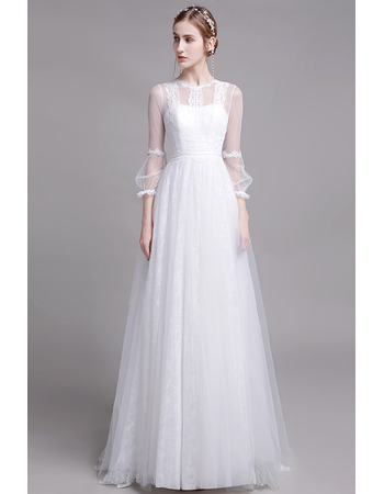 Dramatic Illusion Back Full Length Lace Bridal Dresses with Long Tulle Sleeves