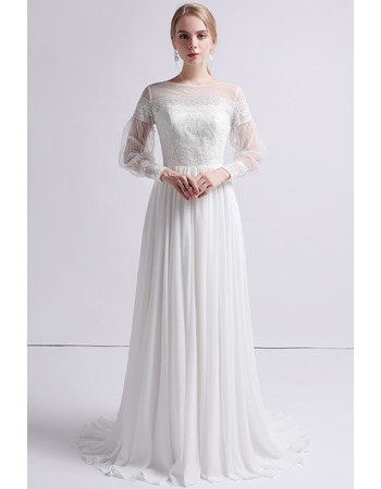 Romantic Lace Appliques Bodice Wedding Dresses with Long Sleeves and Chiffon Skirt