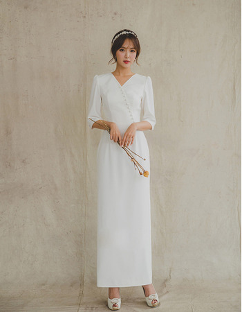 Simple Column Ankle Length Satin Bridal Dresses with Buttons and Half Sleeves