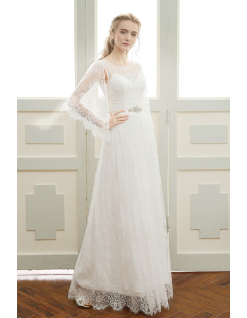 Dreamy Alluring Full Length Lace Backless Wedding Dresses with Delicate Illusion Cap-sleeves