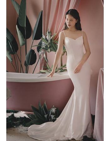 New Arrival Sexy Mermaid Slender Straps Sweep Train Backless Bridal Dresses