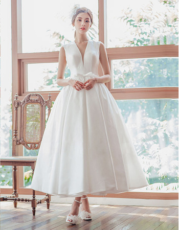 Sexy Exposed Back Ball Gown V-Neck Tea Length Wedding Dresses with Back Lace Up Closure