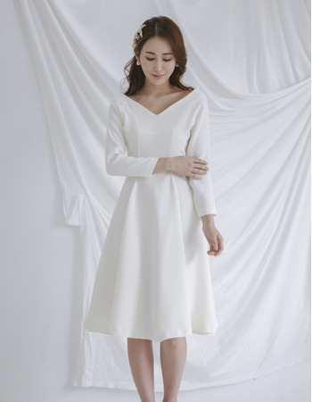 Simple Elegant V-Neck Knee Length Satin Bridal Dresses with 3/4 Long Sleeves