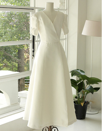 Elegance V-Neck Tea Length Satin Bride Gowns with Short Bubble Sleeves and Strappy Back