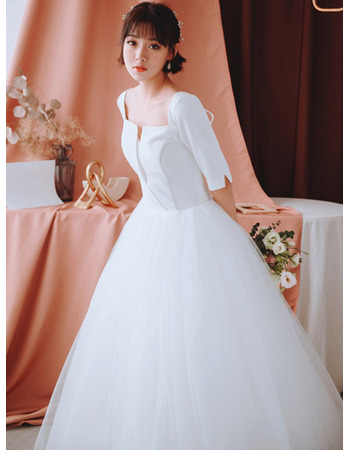 Simple Ball Gown Square Neck Full Length Tulle Skirt Wedding Dresses with Half Sleeves