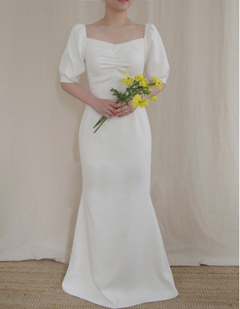 Sexy Mermaid/ Trumpet Square Neck Long Satin Wedding Dresses with Bishop sleeve