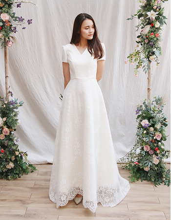 Elegant V-Neck Short Sleeves Lace Wedding Dresses with Buttons