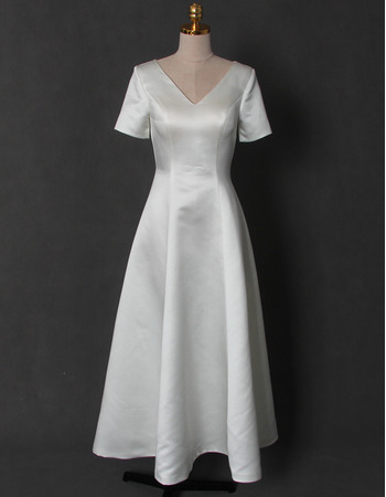 Vintage Simple V-Neck Tea Length Satin Bridal Dress with Short Sleeves and Keyhole Back