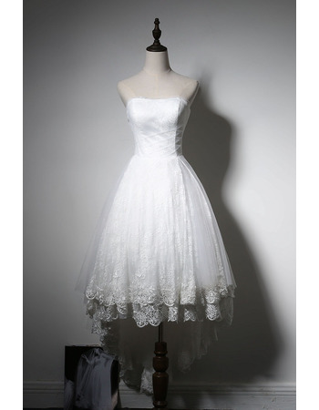 Perfect Strapless Hi-low Hemline Tulle Over Lace Wedding Dresses with Layered Skirt