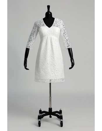 Simple Empire V-Neck Short Lace Wedding Dresses with 3/4 Length Sleeves