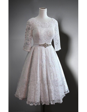 Affordable Deep V Back Knee Length Lace Wedding Dresses With 3 4 Long Sleeves And Beaded Waistband Us 129 99 Buybuystyle Com