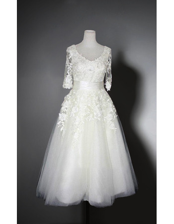 Garden Knee Length Appliques Tulle Bridal Dresses with Illusion Half Sleeves