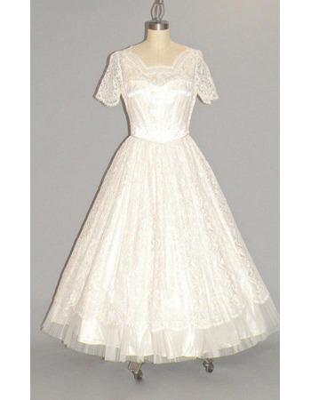 Garden A-Line Square Neck Tea-Length Lace Bridal Dresses with Short Sleeves