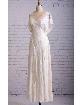 Beautiful Flutter Sleeves V-Neck Tea Length Chiffon Wedding Dresses with Embroidered Lace