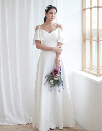 Simple A-Line Spaghetti Straps Satin Wedding Dresses with Exposed-Shoulder