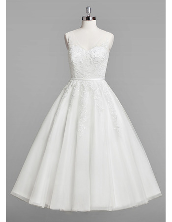Inexpensive A-Line V-Neck Knee Length Lace Appliques Tulle Wedding Dresses