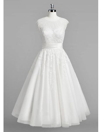 Illusion Neckline Knee Length Tulle Wedding Dresses with Lace Appliques and Shirred Detail