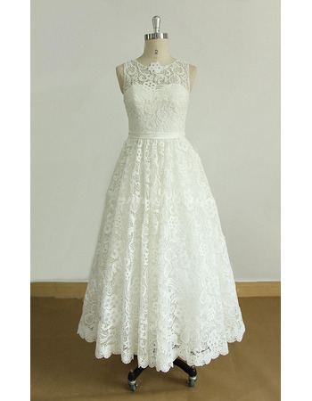 Vintage A-Line Tea-Length Lace Reception Wedding Dresses with Covered Buttons Back