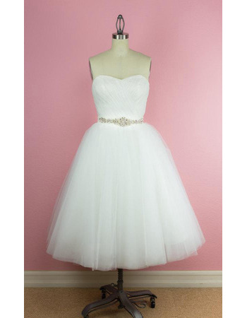 Beautiful Ball Gown Sweetheart Tea-Length Tulle Wedding Dresses Crystal-adorned Waist
