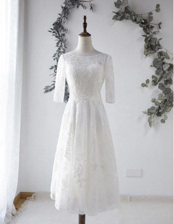 Sexy Deep V-back Tea-Length Lace Wedding Dresses with Half Sleeves