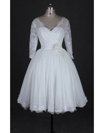 Affordable Lace Bodice V-Neck Knee Length Reception Wedding Dresses with 3/4 Long Sleeves