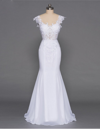 Classy Lace Appliques Bodice Mermaid Sweetheart Floor Length Chiffon Wedding Dresses