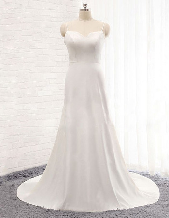 Simple Spaghetti Straps Sweetheart Long Satin Wedding Dresses