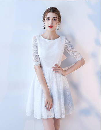 Simple Affordable Round Neckline Lace Reception Wedding Dresses with Half Sleeves