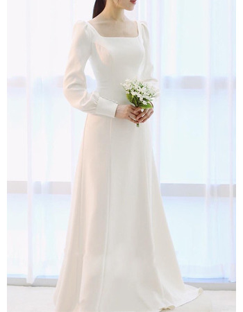 Vintage & Simple Square Neck Sweep Train Satin Wedding Dress with Long Sleeves