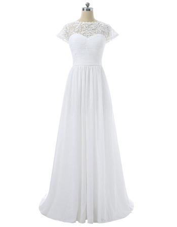 Summer Beach Open Illusion Lace Back Full Length Chiffon Wedding Dresses with Cap Sleeves