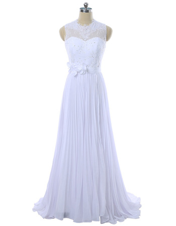 Beaded Illusion Neckline A-Line Full Length Wedding Dresses with Pleated Chiffon Skirt