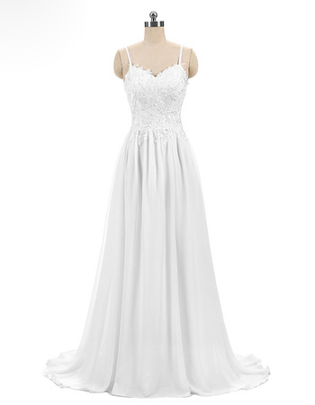 Beautiful Spaghetti Straps Chiffon Wedding Dress with Embroidered Lace Appliques Bodice