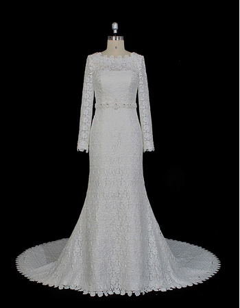 Custom Sheath Plunging V-back Beaded waistband Court Train Lace Wedding Dresses with Long Sleeves
