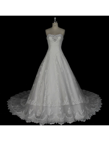 Shimmering Floral-Beaded Sweetheart Chapel Train Lace Appliques Wedding Dresses