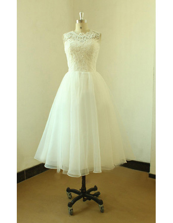 Reception Lace Bodice Knee Length Organza Skirt Wedding Dresses with Illusion Back