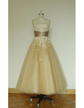 Beautiful Tea Length Tulle Skirt Wedding Dresses with Lace Appliques Bodice